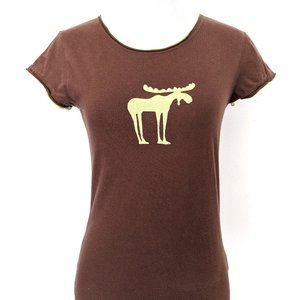 Lazy One Brown Lime Green Moose Print Fitted Tee